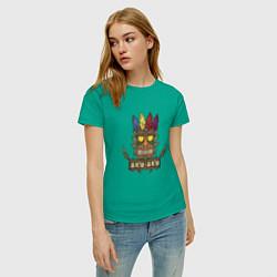Футболка хлопковая женская Aku-Aku (Crash Bandicoot) цвета зеленый — фото 2