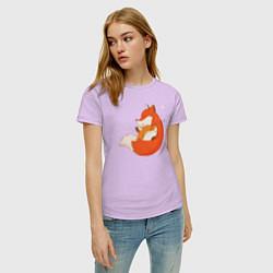 Футболка хлопковая женская Лисички цвета лаванда — фото 2