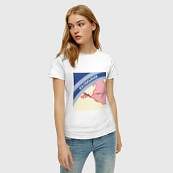 Футболка хлопковая женская Беломор: Калмыкия цвета белый — фото 2