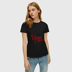 Футболка хлопковая женская The Vampire Diaries цвета черный — фото 2
