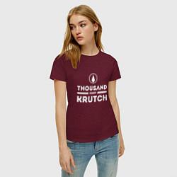 Футболка хлопковая женская Thousand Foot Krutch цвета меланж-бордовый — фото 2