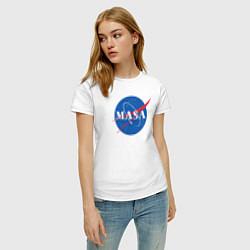 Футболка хлопковая женская NASA: Masa цвета белый — фото 2