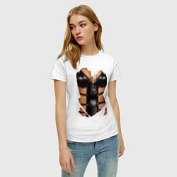 Футболка хлопковая женская Leather underwear цвета белый — фото 2