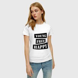 Футболка хлопковая женская Young free happy цвета белый — фото 2