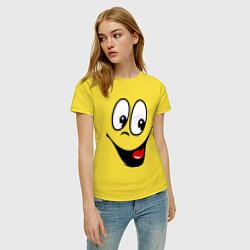 Футболка хлопковая женская Заразительная улыбка цвета желтый — фото 2
