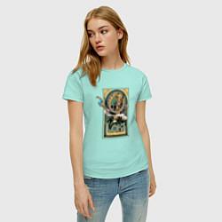 Футболка хлопковая женская Loki Art nouveau цвета мятный — фото 2