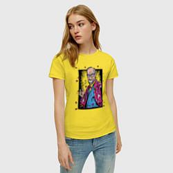 Футболка хлопковая женская Зигмунд Фрейд цвета желтый — фото 2