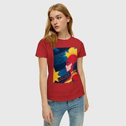 Футболка хлопковая женская Капитан Марвел Мстители цвета красный — фото 2