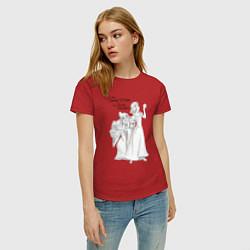 Футболка хлопковая женская Белоснежка и яблоко цвета красный — фото 2